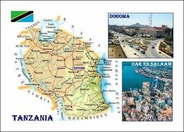 Tanzania Country Map New Postcard - Landkaarten