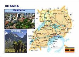 Uganda Country Map New Postcard - Landkaarten