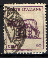 ITALIA LUOGOTENENZA - 1944 - LUPA CAPITOLINA - SENZA FILIGRANA - USATO - Usados