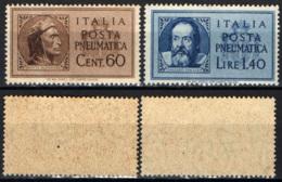 ITALIA LUOGOTENENZA - 1945 - DANTE ALIGHIERI E GALILEO GALILEI - POSTA PNEUMATICA - MNH - Fiscales