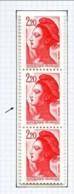 """2376 - 2F20 Rouge - Variété  """"Timbre + Grand Que Le Normal"""" - Dans Bande Verticale De 3 - Neuf N** - Variedades: 1980-89 Nuevos"""