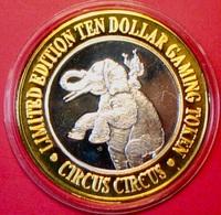 $10 .999 Silver Casino Token. Circus Circus, Reno, NV. Elephant 1995. SS04. - Casino