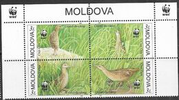Moldova  2001  Sc#370    WWF Bird Set/block Of 4   MNH  2016 Scott Value $6 - Unused Stamps
