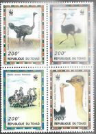 Chad  1996  Sc#693  200fr WWF Ostriches Block   MNH  2016 Scott Value $17 - Unused Stamps