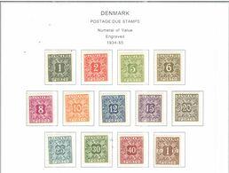 Danimarca Postage Due   1934/55 Numerals    Scott.J 25/37  Scott.Album; Nuovi - Segnatasse