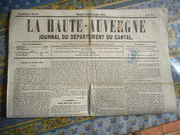 TIMBRE FISCAL 2C JOURNAUX Annulation Typographique Sur Journal LA HAUTE AUVERGNE SAINT FLOUR Année 1870 - Newspapers