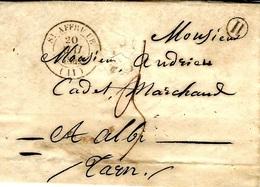 1847- Lettre De ST AFFRIQUE ( Aveyron ) Cad T14  + H Boite Rurale De Broquier - Postmark Collection (Covers)