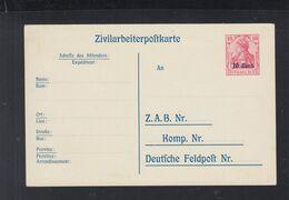 Dt. Reich Besetzung Belgien Zivilarbeiterpostkarte Ungebraucht (2) - Besetzungen 1914-18