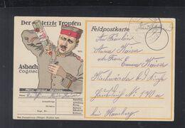Dt. Reich Feldpost PK 1915 Werbung Asbach Cognac - Werbepostkarten