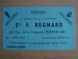 BUVARD UNIFORME F. REGNARD RUE DE LA CHAPELLE PARIS - Textile & Vestimentaire