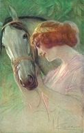 Ragazza (Signorina) Che Accarezza Il Suo Cavallo, Riproduzione A61, Reproduction - Mujeres