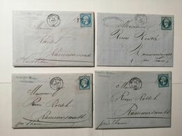 Lot 4 Enveloppes  1865 Guebwiller-Thann - 1863-1870 Napoléon III Lauré