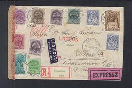 Ungarn Hungary Serbien Serbia Luftpost R-Brief 1942 Ujverbasz  Vrbas Nach Wien - Ungarn
