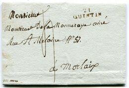 COTES D ARMOR De QUINTIN LAC Du 1/02/1814 Linéaire 28x9 Taxée 4 Pour MORLAIX - Marcophilie (Lettres)