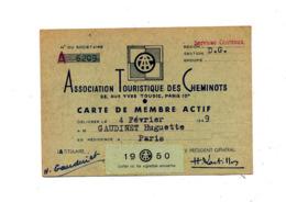 Carte De Membre Association Touristique Des Cheminots 1950 - Visitekaartjes