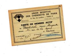 Carte De Membre Union Sportive  Des Cheminots Tennis 1948 - Visitekaartjes
