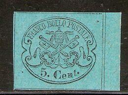 (Fb).A.Stati.Pontificio.1867.-5c Azzurro Celeste Non Dentellato Nuovo,bordo Di Foglio (180-20) - Kirchenstaaten