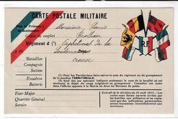 Carte Militaire Illustrée  En Franchise Postale Avec  Drapeaux Et Blason RF - Brieven En Documenten