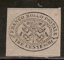 (Fb).A.Stati.Pontificio.1867.-3c Grigio Non Dentellato Nuovo (179-20) - Kirchenstaaten