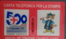 SCHEDA TELEFONICA ITALIANA - USI SPECIALI - STAMPA- 500 COLOMBO 92- C&C 4032 - Collezioni