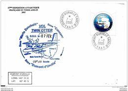 47 - 47 - Enveloppe  Vol Antarctique Base Concordia-BaseDumont D'Urville 2005 - Polar Flights