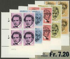 SUISSE SWITZERLAND 1972 BLOCS NEUFS V. Faciale 7,2 FS-6,6€ Giacometti, Ramuz, Le Corbusier, Einstein, Honegger - Svizzera
