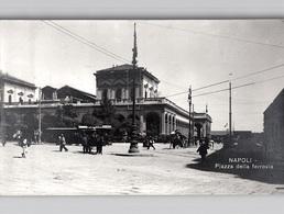 Napoli 4 Belle Foto TRAM ANIMAZIONE ACQUARIO Ecc.  Vere Foto C. 1910 - Napoli