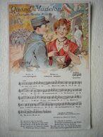 Guerre 14-18 QUAND MADELON Chanson Marche Militaire Belle Illustration Couleur - Guerra 1914-18