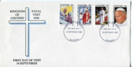 Lesotho Mi# 707-10 Used On Official FDC - Papal Visit 1988 - Lesotho (1966-...)