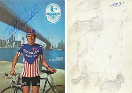 CARTE CYCLISME ROGER DE VLAEMINCK TEAM BROOKYN 1973 ( PARTIE ARRIERE ROTA, DETERIORÉE, VOIR PHOTO ) - Ciclismo