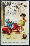 CPA Illustration Germaine Bouret  Enfant   Voiture à Pédale  Ballon Pedal Car 1940 - Bouret, Germaine
