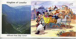 Lesotho Mi# Block 62 Used On Official FDC - Cartoon Disney - Lesotho (1966-...)