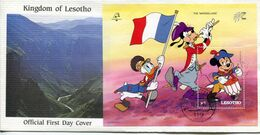 Lesotho Mi# Block 63 Used On Official FDC - Cartoon Disney - Lesotho (1966-...)