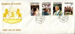 Lesotho Mi# 847-50 Used On Official FDC - State Visit, Blanket, Pope - Lesotho (1966-...)