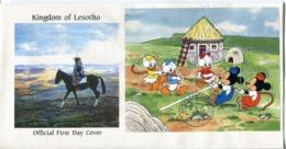 Lesotho Mi# Block 85 Used On Official FDC - Cartoon Disney - Lesotho (1966-...)