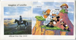 Lesotho Mi# Block 86 Used On Official FDC - Cartoon Disney - Lesotho (1966-...)