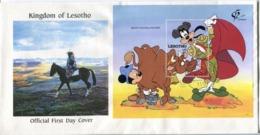 Lesotho Mi# Block 88 Used On Official FDC - Cartoon Disney - Lesotho (1966-...)