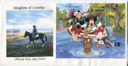 Lesotho Mi# Block 89 Used On Official FDC - Cartoon Disney - Lesotho (1966-...)