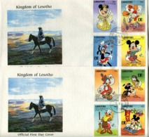 Lesotho Mi# 970-3, 975-8  Used On Official FDC - Cartoon Disney - Lesotho (1966-...)
