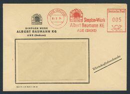Deutschland Germany 1964 Brief Cover - Simplon-Werk Albert Baumann KG, Aue (Sachs) - Trains