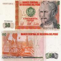 PERU, 50 INTIS, 1987, P131b, UNC - Peru