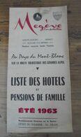 LISTE DES HOTELS MEGEVE MONT-BLANC 1963 Haute Savoie - Tourism Brochures