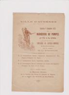 VILLE D'AVESNES (NORD) PROGRAMME DIMANCHE 9 SEPTEMBRE 1923 MANOEUVRE DE POMPES Et TIR à La CIBLE - Programas