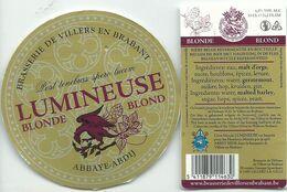 étiquette Décollée Lumineuse Blonde Brasserie De Villers - Beer
