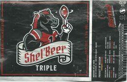 étiquette Décollée Shell Beer Triple Sport Football Américain Verviers Brasserie De La Croix Beyne-Heusay - Beer