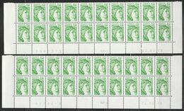 1973 1F. VERT SABINE - 2 Bas De Feuille De 20 - RGR 1 Du 22.2.79 Nappes 1 Et 2 - 1977-81 Sabine Of Gandon
