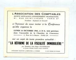 Carte  Invitation Conference Reforme Fiscalité  Paris - Announcements