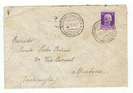 Italie 1942 Lettre Brief Lettera Cachet Alessandria Della Rocca Pour Mentone - Storia Postale