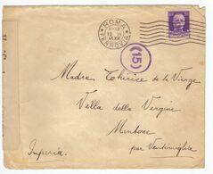 Zone Occupation Italienne Menton France Italie 1941 Censure Militaire Lettre Brief Lettera Cachet Roma Pour Mentone - Storia Postale