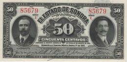 (B0068) MEXICO (ESTADO DE SONORA), 1915. 50 Centavos. P-S1070. UNC - Mexiko
